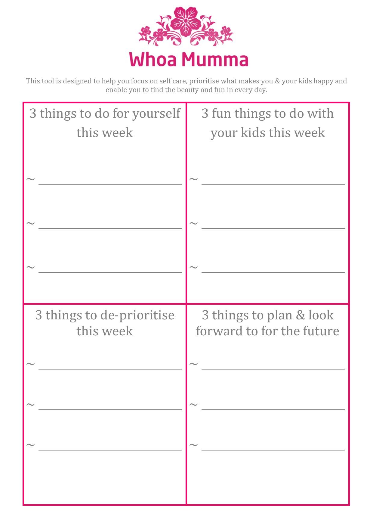worksheet Self Care Plan Worksheet tools whoa mumma