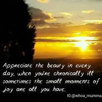 Seize every #moment of #joy #beauty & #happiness when you can. #chronicillness #chronicpain #beautyineveryday #whoamumma