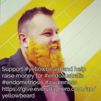 My amazing #husband has dyed his #beard #yellowforendo to raise money for @endometriosisaustralia We would ?? your support go to https://give.everydayhero.com/au/yellowbeard to make a Tax deductible donation #endoaustralia #endomarchaust #endometriosis #1in10 ##yellowbeard